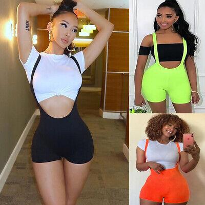US Women Casual Sleeveless Bodycon Romper Jumpsuit Club Bodysuit Short Pants (Orange Jump Suit)
