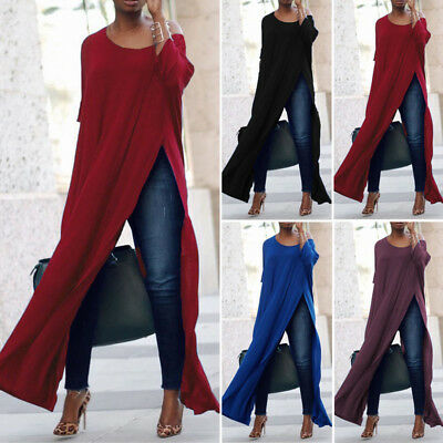 ZANZEA Women Off The Shoulder Casual High Split Crop Tops Long Maxi Shirt Blouse
