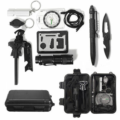10PCS Outdoor Camping Survival Gear Kit Military Tactical EDC Emergency Tools