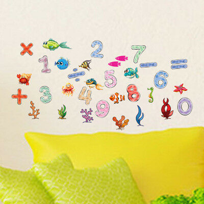 - Fish Number Wall Sticker Removable Art Vinyl Decals Kids Nursery Home Room Decor