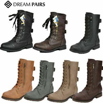 DREAM PAIRS Women Ladies Leather Military Biker Mid-calf Boo