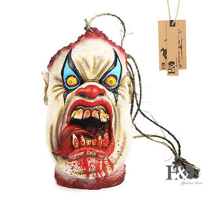 Horror Evil Clown Creepy Head Halloween Scary Props Bloody Head Candy Bag Lamp