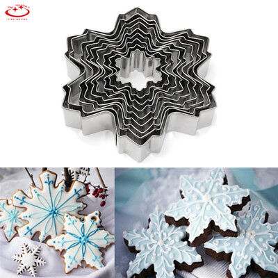 Snowflake Cookie Cutter - 9pcs Christmas Snowflake Biscuit Cookie Cutter Cake Decor Baking Mold Mould Tool