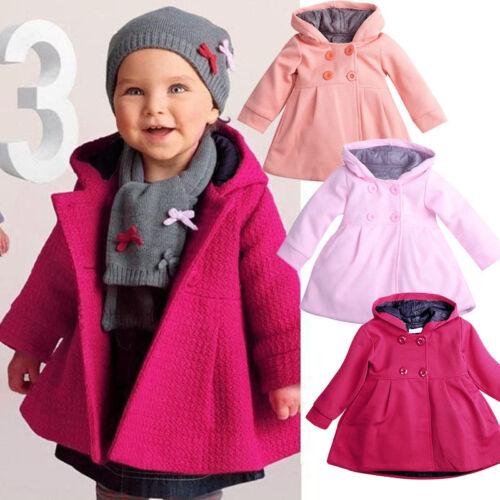 NUOVO BIMBO BAMBINI per bambine Invernale Cappotto con cappuccio BOTTONE