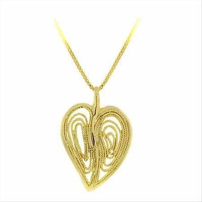 18k Gold Over Silver Filigree - 18K Gold over 925 Silver Filigree Modern Heart Pendant, 18