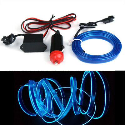Blue 3M 12V LED Light Glow EL Wire String Strip Rope Tube Car Interior - Tube Blue Glow