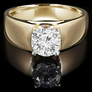 Diamond Engagement Ring 1.25CT Bague de Fiançailles 14K Or Jaune