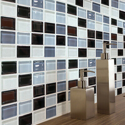 Black Mosaic Tile (6 Pcs Black Mosaic Self-adhesive Bathroom Kitchen Decor Wall Stair Tile Sticker)