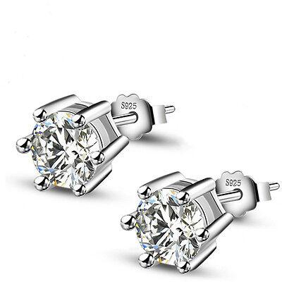 Earrings - 1Pair 925 Sterling Silver Women Jewelry Lady Elegant Crystal Ear Stud Earrings