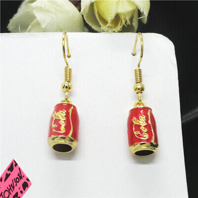 New Red Enamel Coca-Cola Drink Crystal  Betsey Johnson Women Stand Earrings