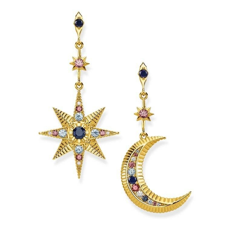 b21866263 Details about Genuine Thomas Sabo Yellow Gold Royalty Star & Moon Drop  Dangle Earrings TH2025