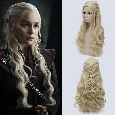 erys Targaryen Dany Cosplay Perücke Wig Locken Blond v2 (Daenerys Perücke)