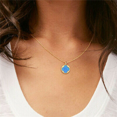 ZARD Women Blue Opal Four Leaf Clover Pendant 14K Gold Plated Necklace Gold Four Leaf Clover Necklace