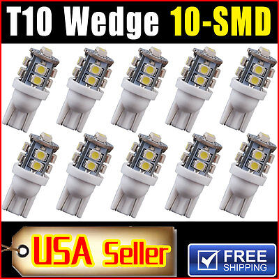 10 Pcs Car T10 Xenon White Led 10 Smd Wedge Light Bulb W5w 194 168 2825 158 192