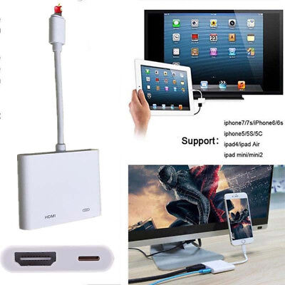 Lightning to Digital AV TV HDMI Cable Adapter Connector For iphone 6 7 8 ipad