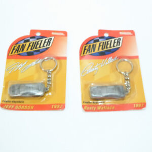 2 VINTAGE PEWTER KEY CHAINS: RACERS JEFF GORDON & RUSTY WALLACE