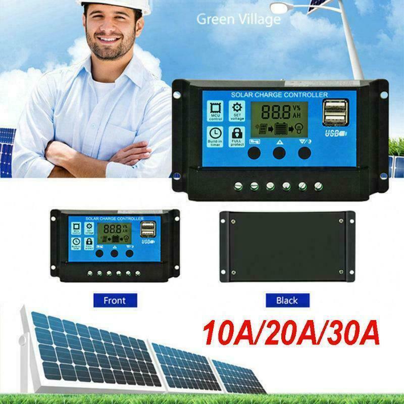 12V/24V Solar Charge Controller Kit PWM LCD Dual USB Output