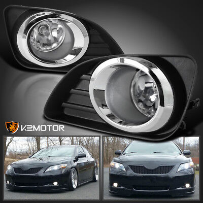 Fits 2010-2011 Toyota Camry Clear Bumper Lamps Driving Fog Lights+Switch ()