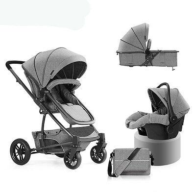 New Baby Stroller 3 in 1 High view travel system Pram folding pushchair&Car Seat