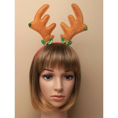 Navidad Grande Cuernos Reno Con Holly Y Campanas Fancy Dress Niños O...