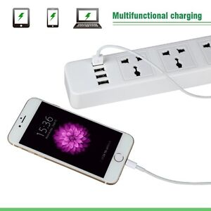 4-USB 3-Outlet Charging Port Power Strip ~ NEW