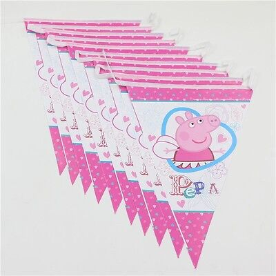 Peppa Pig Birthday Banner (2.5 m Peppa Pig Paper Birthday Banner Flag Decoration Party)