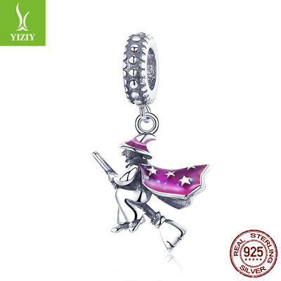 Halloween Jewlery (Halloween 925 real Silver Magic Witch Charm Bead Dangle Pendant Jewlery)