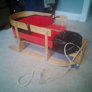 old fashioned wooden toddler sleigh