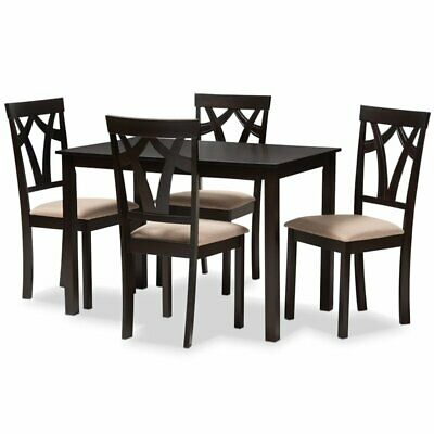 Baxton Studio Sylvia 5 Piece Dining Set in Brown and Sand