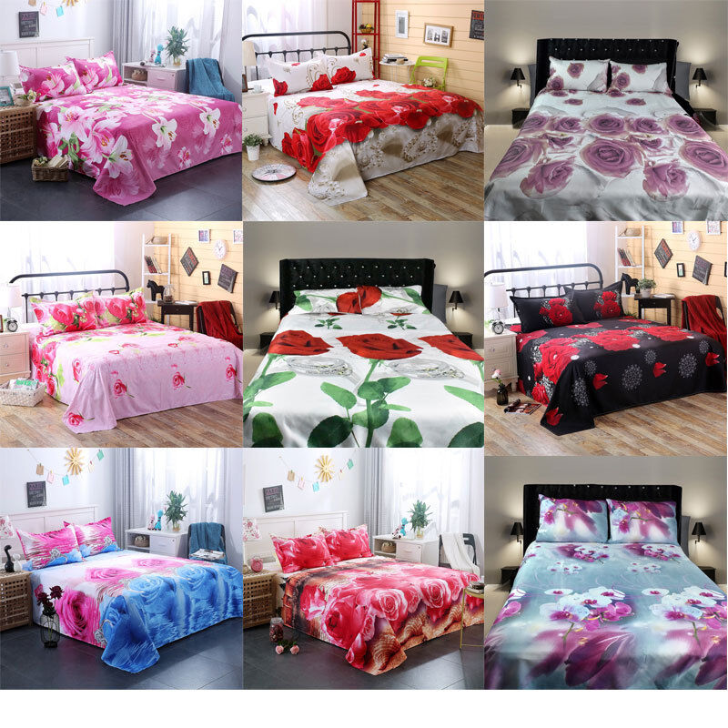 3D Bedding Sheet Pillow Case Cover Set For Single Double Bed