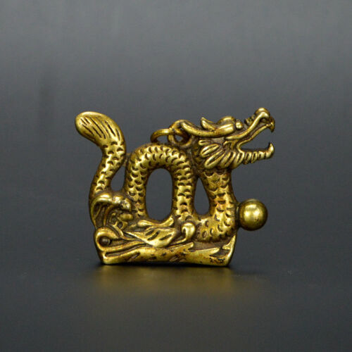 Chinese old collection handwork bronze dragon Collection statue