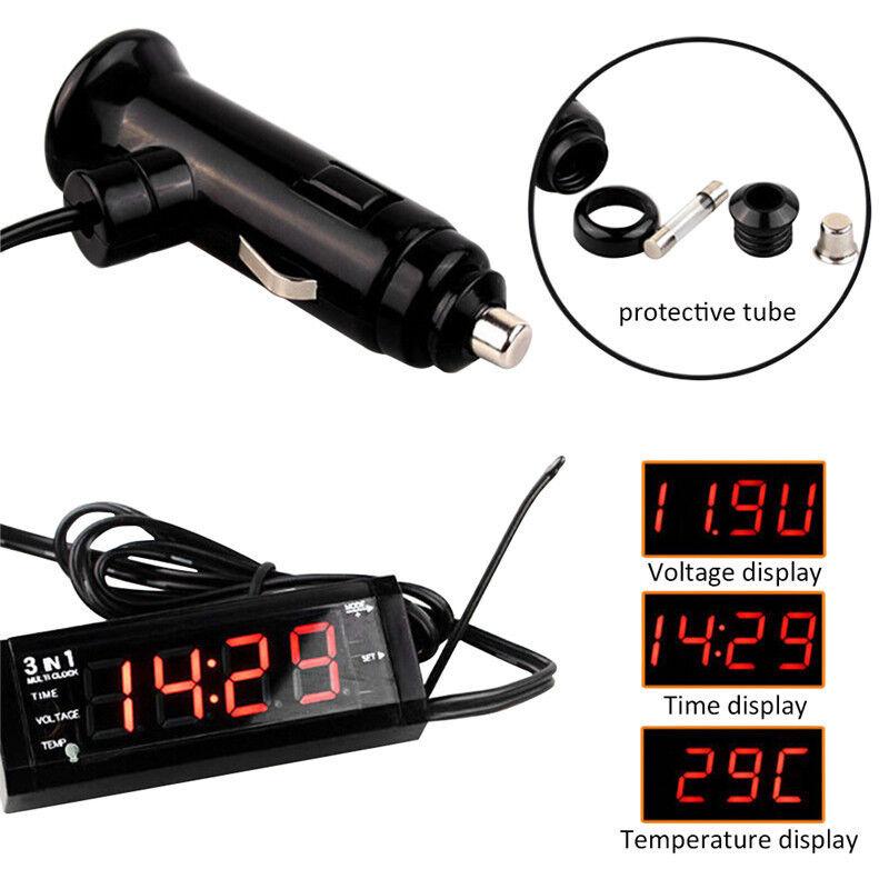 1Pcs 3in1 Vehicle Car Kit Thermometer Voltmeter Clock LED Digital Display 12V