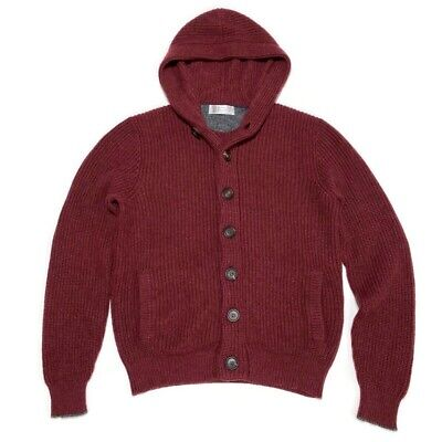 Brunello Cucinelli Cashmere Knit Hooded Cardigan Sweater Maroon Mens 48 Italy