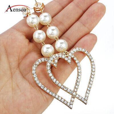 - New Women 3 Pearl Love Heart Crystal Dangle Predant Drop Earring Wedding Jewelry