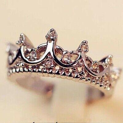 Women Jewelry Sterling Silver Princess Crown Tiara Ring Band