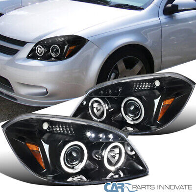 For Pearl Black 05-10 Cobalt 07-09 G5 05-06 Pursuit LED Halo Projector Headlamps
