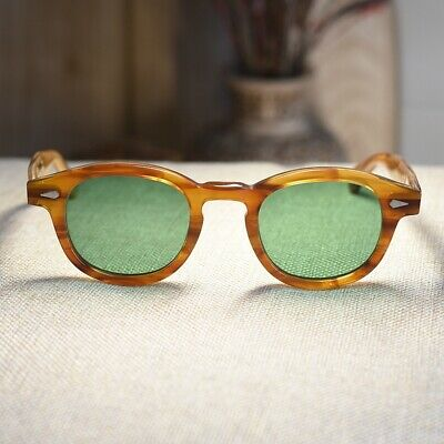 Vintage Johnny Depp sunglasses solid acetate 1960's glasses green tinted (Johnny Sunglasses)