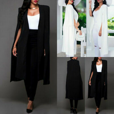 Women's Loose Long Cloak Blazer Cape Trench Cardigan Coat Outwear Poncho Jacket - Womens Capes