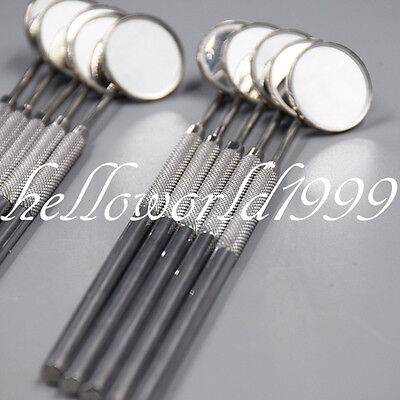 10 Pc Mouth Mirrors Handle With Mirror Plane No. 4 Dental Examination Instrument