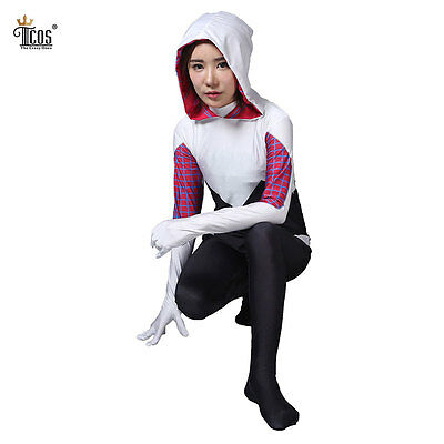 Gwen Stacy Cosplay Costume Spider Woman Girl Halloween Party Zentai Bodysuit