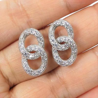 Shiny Silver Rhodium Plated CZ Pave Linked Circles Post Stud Earrings Classic