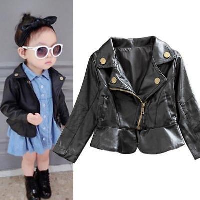 Toddler Kids Girl PU Leather Jacket Black Asymmetrical 2-6Y Zippered Warm Coat