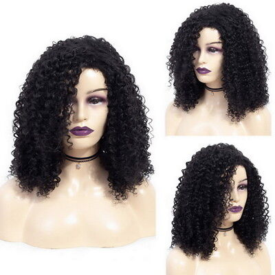 HJ Damen Afro Perücke Lockig Kurze Wig Ombre Brasilianische Remy Haarperücken