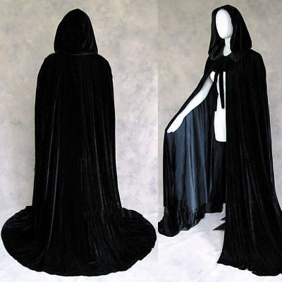 Halloween Velvet Hooded Cloak Medieval Cape Witchcraft Wicca Robe Larp - Black Velvet Hooded Cape