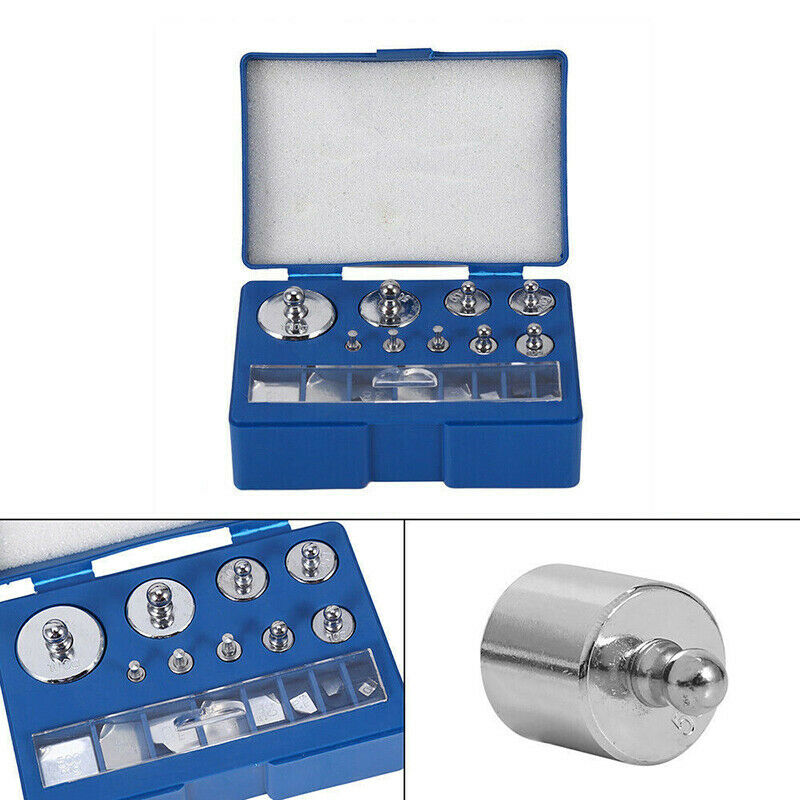 17x 10mg-100g Grams Precision Steel Calibration Weight Kit Set for Balance Scale
