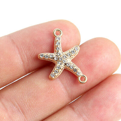 Gold Starfish Charm - 10x Gold Plated Crystal/Rhinestone Starfish Link Connector Beads Charm 23*16mm