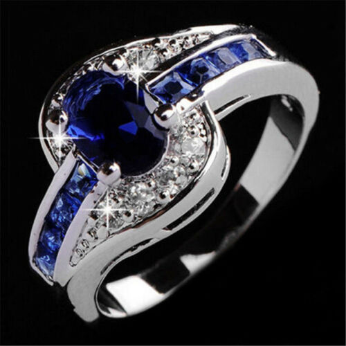Ring - Women Blue Sapphire White Gold Filled Engagement Ring Size 7 8 9 Rings Jewelry