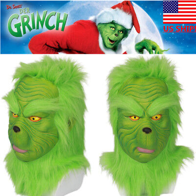 US! Newest Grinch Full Head Mask How the Grinch Stole Christmas Cosplay - Grinch Head