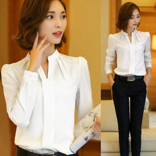 Summer Women OL Business Long Sleeve Chiffon T-Shirt Casual Tops Office Blouse