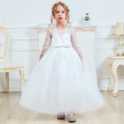 Lace Flower Girl Party Dress White First Communion Long Tulle Prom Wedding Gown